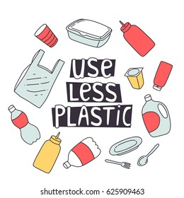 zero waste design. use less plastic concept illustration