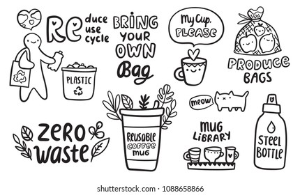 "Zero waste doodle concept. Reduce Reuse Recycle illustration. Bring your own produce bags, coffee cup, steel bottle image for your ecology design. Funny cat saying ""Meow"".  Mug library sign."