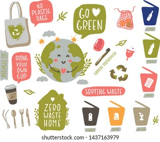 Zero waste Earth. Sorting waste. Hand drawn elements of zero waste in vector - glass jar, eco grocery bags, wooden cutlery, toothbrush, menstrual cup, thermo mug