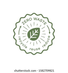 Zero waste emblem modern style for recycle, reuse and reduce concept, ecological lifestyle, sustainable developments illustration, no plastic label, go green sticker. Vector 10 eps