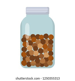 zero waste glass jar filled with chocolate balls rice flat design icon isolated on white