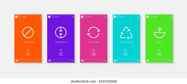 Zero waste. Global Climate Strike. Ecology banner vector social media stories. Reuse Reduce Recycle Rot Refuse. Zero waste. Conscious consumption. Neo mint.
