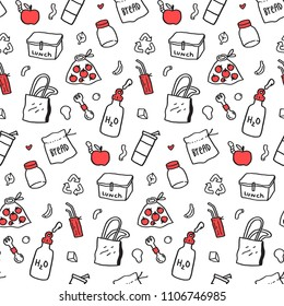 Zero waste hand drawn background. Seamless pattern with reusable straws, water bottle, fruits and vegetable textile eco pack, shoppig bag, stainless steel lunch box, glass jar.