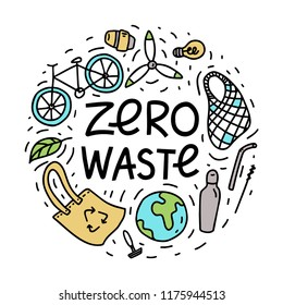 Zero waste. Hand drawn vector illustration.