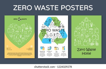 Zero Waste icon design banners. Vector set of poster templates with place for text. No Plastic and Go Green concept. Color outline illustration background of Refuse Reduce Reuse Recycle Rot