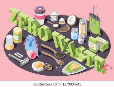 Zero waste isometric composition with eco friendly bags cosmetics cutlery personal things 3d vector illustration