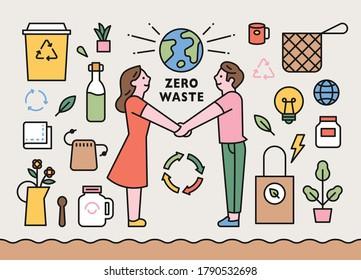 Zero waste items. People doing environmental protection. flat design style minimal vector illustration.