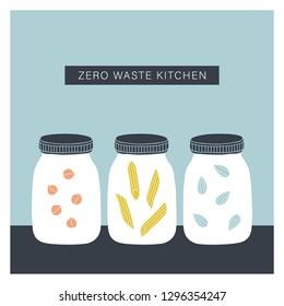 Zero waste kitchen. Mason jars with nuts, pasta, grains. Vector illustration