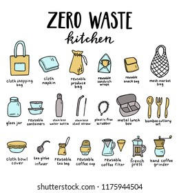 Zero waste. Kitchen products set. Vector illustration.