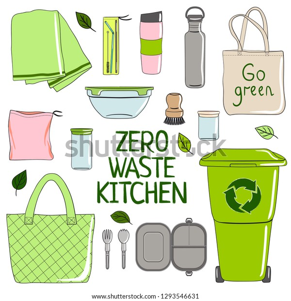 Zero Waste Kitchen Set No Plastic Stock Vector Royalty Free