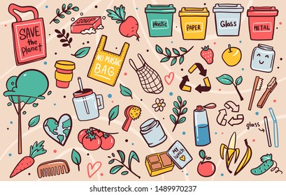 Zero waste lifestyle flat vector illustrations set. No plastic, garbage sorting campaign symbols stickers, icons pack. Eco bags, disposable containers doodles. Nature protection banner design