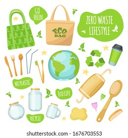 Zero waste lifestyle vector illustrations. Bag, wood, paper or glass, eco friendly style zero waste element and slogan conservation protection ecology. Go green, eco life, no plastic, recycle icon set