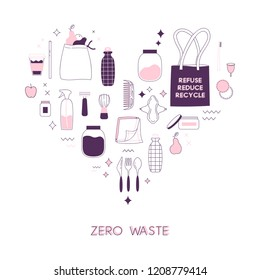 Zero waste lifesyle hand drawn elements in cute simple flat style. Vector illustration for eco life. No plastic. Refuse reduce recycle. Earth day. Save the planet