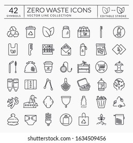 Zero waste line icons. Outline symbols isolated on white background. Recycling, reusable items, plastic free, save the Planet and eco lifestyle themes. Editable stroke. Vector collection.