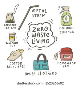 Zero waste living doodle concept. Hand drawn reusable tea bag, natural cleaner, metal straw, homemade jam, cotton bread bag, reusable cup, reuse clothing. Stock vector