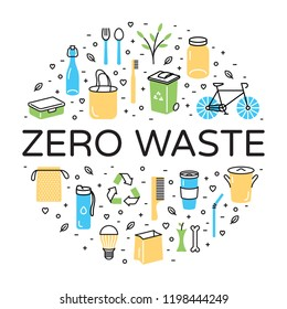 Zero Waste logo design template set. No Plastic and Go Green concept in circle form. Vector eco lifestyle sign and symbol collection. Color line icon illustration of  Refuse Reduce Reuse Recycle Rot