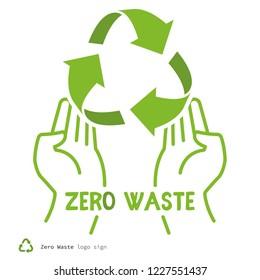 Zero waste logo sign symbol