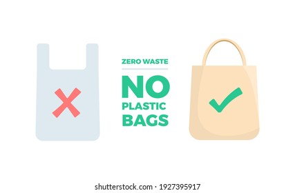 Zero Waste No Plastic Bags Eco Recycled Plastic Bags Flat Color Design Icon