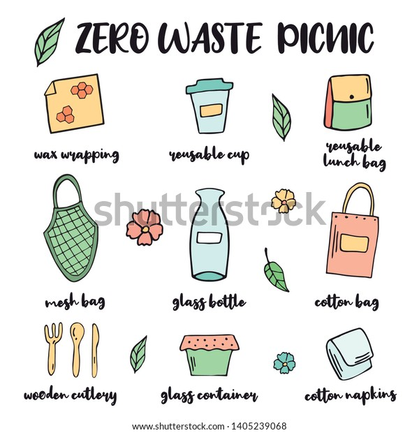 Zero Waste picnic or travel starter with hand drawn elements. Go green. No plastic, no waste
