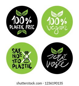 Zero waste, plastic free, vegan, natural, organic products stickers, labels set collection / Eco friendly concept design element