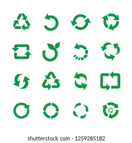 Zero waste and reuse symbols vector illustration set with various simple flat green signs of recycle with arrows in different forms for eco friendly materials and environmental protection concept.