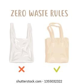 Zero waste rules. Disposable package vs reusable cotton bag. Less plastic vector poster