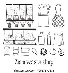 Zero waste shop objects set. Dispenser, bags, jars, bottles and food. Hand drawn outline vector sketch illustration