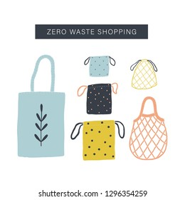 Zero waste shopping toolkit flat lay. Tote bag, cotton, net bags. Vector illustration