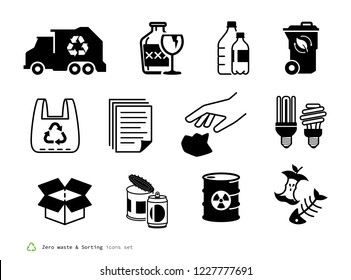 Zero waste and Sorting icons set