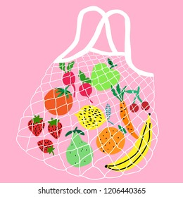 Zero waste string bag vector. No plastic