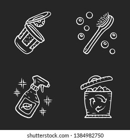 Zero waste swaps handmade chalk icons set. Eco friendly, sustainable products. Recycling materials. Cleaning products, reusable k-cup, natural bath brush. Isolated vector chalkboard illustrations