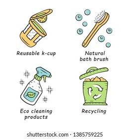 Zero waste swaps handmade color icons set. Eco friendly, organic, sustainable products. Recycling materials. Eco cleaning products, reusable k-cup, natural bath brush. Isolated vector illustrations