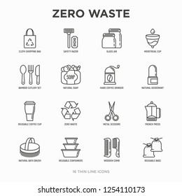 Zero waste thin line icons set: menstrual cup, safety razor, glass jar, natural deodorant, hand coffee grinder, french press, metal scissors, bath body brush, wooden comb. Modern vector illustration.