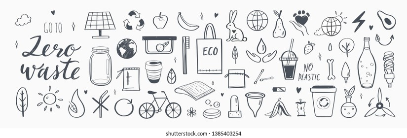 Zero waste vector hand drawn infographic set.Collection of eco and natural elements. Go green concept. Isolated objects