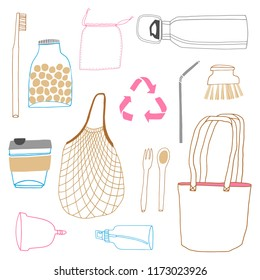 Zero waste vector icon set. Hand drawn illustration