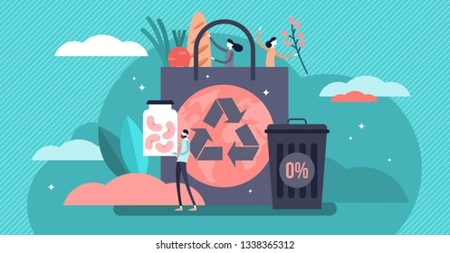 Zero waste vector illustration. Flat tiny reduce packaging persons concept. Using reusable jars and bags to save earth environment and resource pollution. Organic ecological lifestyle without garbage.