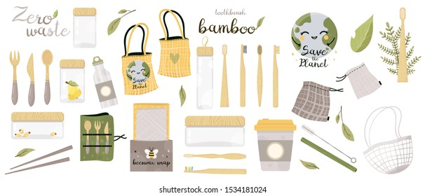 Zero Waste vector illustrations set. Go green. Durable and reusable items or products - glass jars, eco grocery bags, bamboo toothbrush, bee wrap.