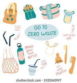 Zero waste vector illustrations set. Durable and reusable items or products - glass jars, eco grocery bags, bamboo toothbrush, reusable cup, lunch box. No plastic. Perfect for eco prints.