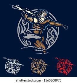 Zeus emblem style vector illustration