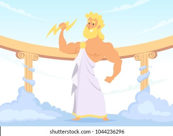 Zeus Greek ancient God of thunder and lightning. Vector zeus character god, greek ancient character illustration