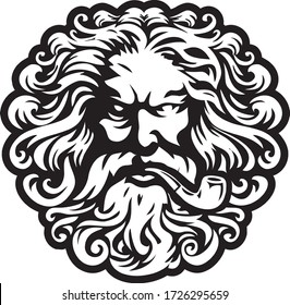 zeus head logo illustration vector