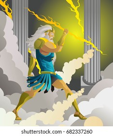 zeus jupiter god in the olympus throwing a ray