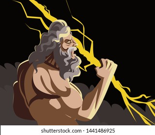 zeus jupiter god with storm ray