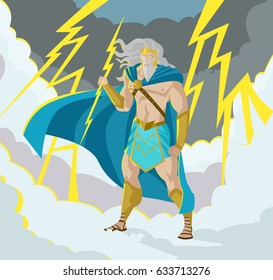 zeus jupiter god of the thunder and lighting bolt ray in storm olympus sky