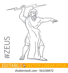 Zeus. King of the gods, ruler  Mount Olympus, and god  the sky, weather, thunder, lightning, law, order,  justice. Series Greek . Editable line drawing. Stock vector illustration.