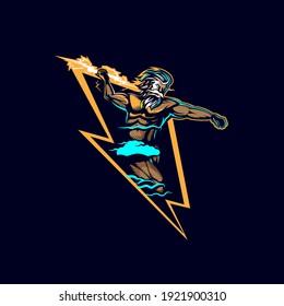 Zeus Lightning Insignia vector illustration esport style graphic.