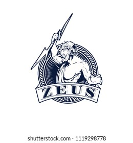 zeus with lightning vector emblem logo template