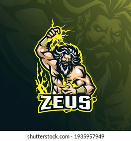zeus mascot logo design with modern illustration concept style for badge, emblem and tshirt printing. angry zeus illustration for sport and esport team.