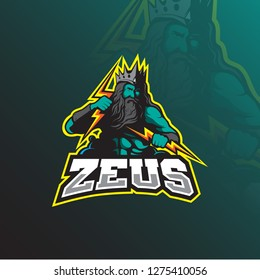 zeus mascot logo design vector with modern illustration concept style for badge, emblem and tshirt printing. zeus illustration with lightning in hand.