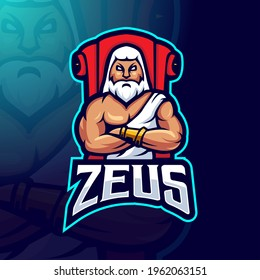 Zeus mascot logo design vector with modern illustration concept style for badge, emblem and t-shirt printing. Zeus sits on throne for esports team